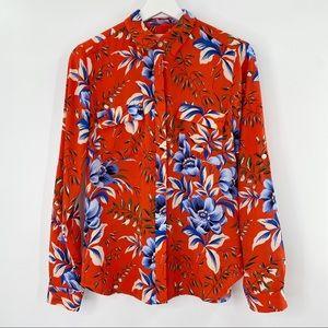 LOFT floral long sleeve orange button down blouse